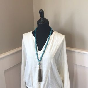 Chico's Turquoise & Tassle Necklace